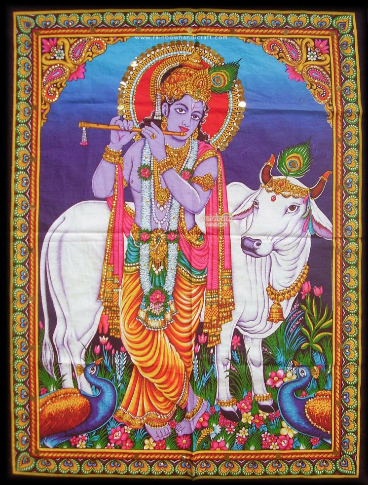 krishna with cow tapestry