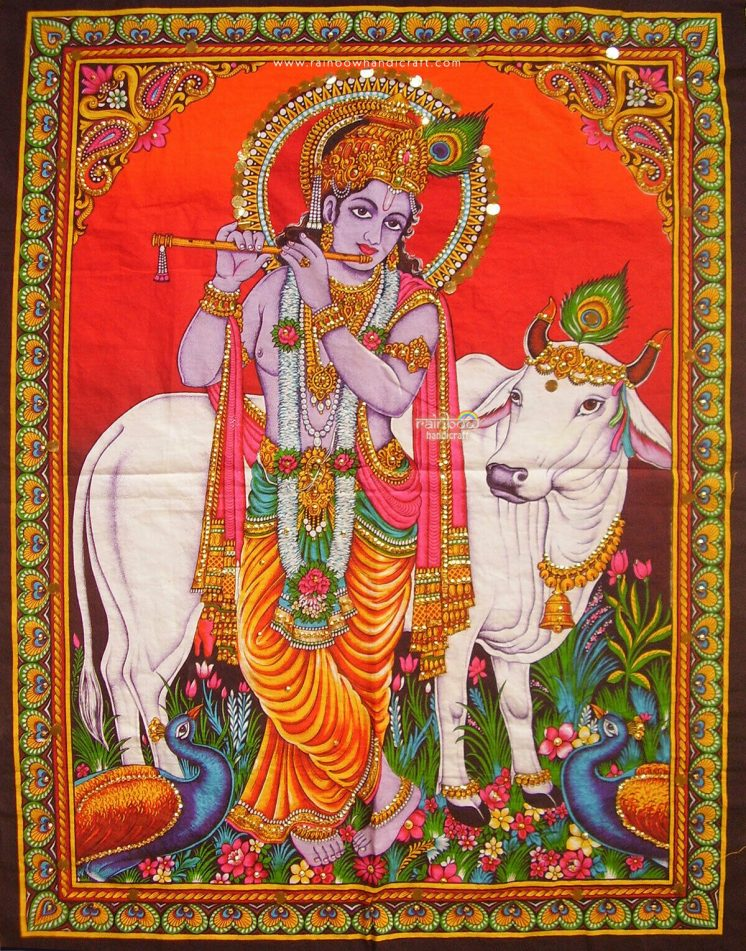 krishna cow wall hanging
