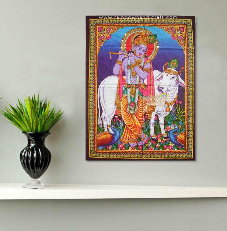 krishna cow tapestry